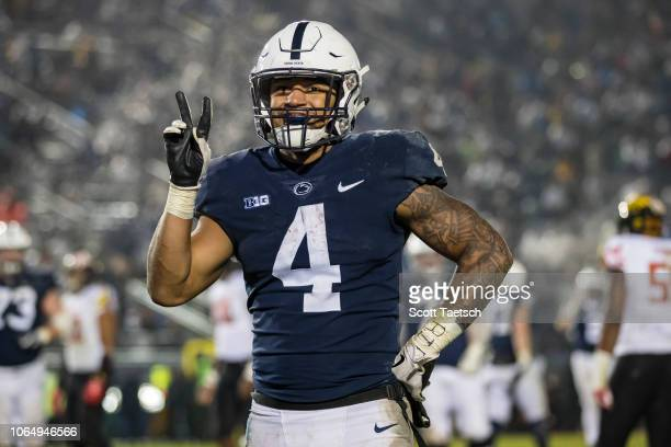 Ricky Slade of the Penn State Nittany Lions reacts after scoring his second touchdown against the Maryland Terrapins during the second half at Beaver...