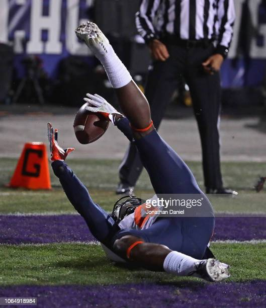 Ricky Smalling of the Illinois Fighting Illini makes a touchdown catch on his back against the Northwestern Wildcats at Ryan Field on November 24,...