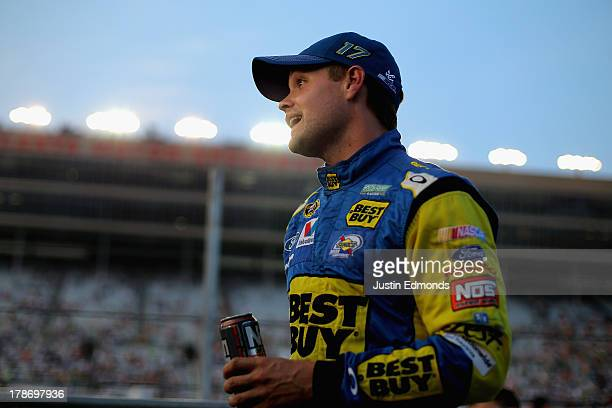 Ricky Stenhouse Jr driver of the Best Buy Ford stands on the grid during qualifying for the NASCAR Sprint Cup Series AdvoCare 500 at Atlanta Motor...