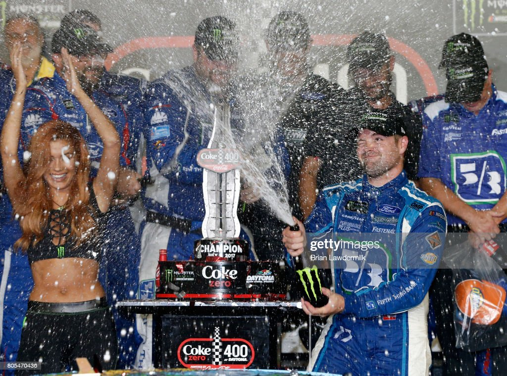 Ricky Stenhouse Jr., driver of the #17 Fifth Third Bank Ford, celebrates in Victory Lane after winning the Monster Energy NASCAR Cup Series 59th Annual Coke Zero 400 Powered By Coca-Cola at Daytona International Speedway on July 1, 2017 in Daytona Beach, Florida.