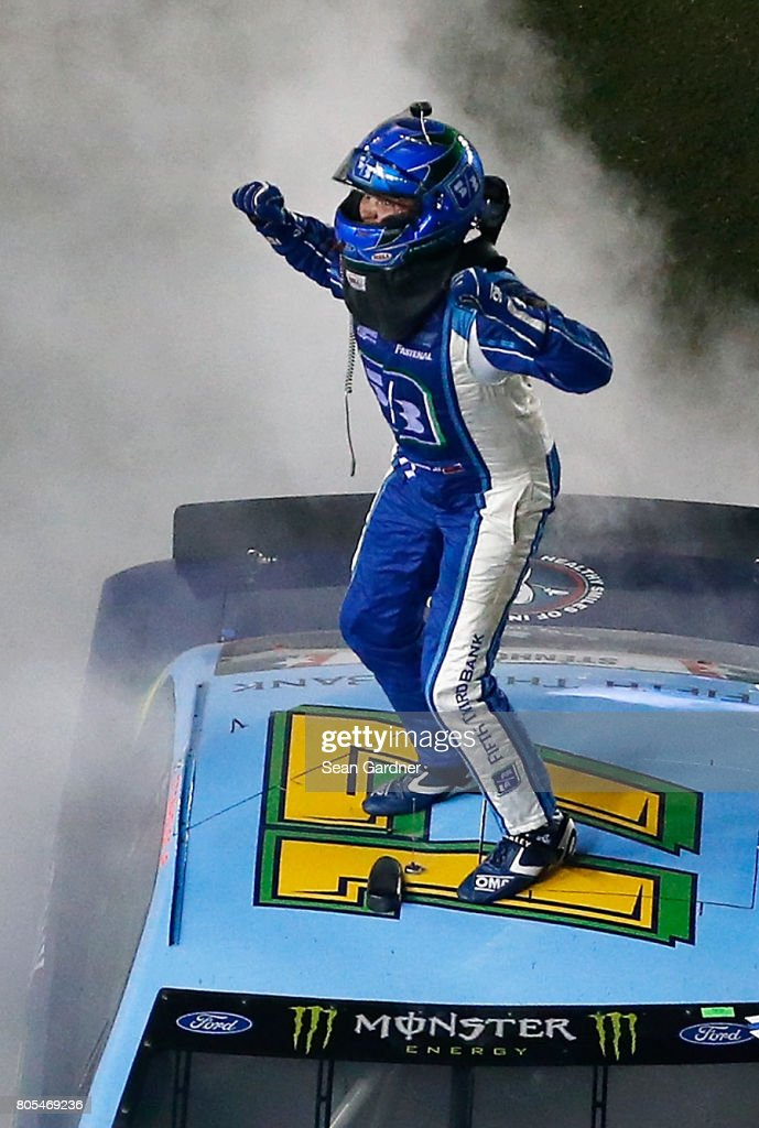Ricky Stenhouse Jr., driver of the #17 Fifth Third Bank Ford, celebrates winning the Monster Energy NASCAR Cup Series 59th Annual Coke Zero 400 Powered By Coca-Cola at Daytona International Speedway on July 1, 2017 in Daytona Beach, Florida.