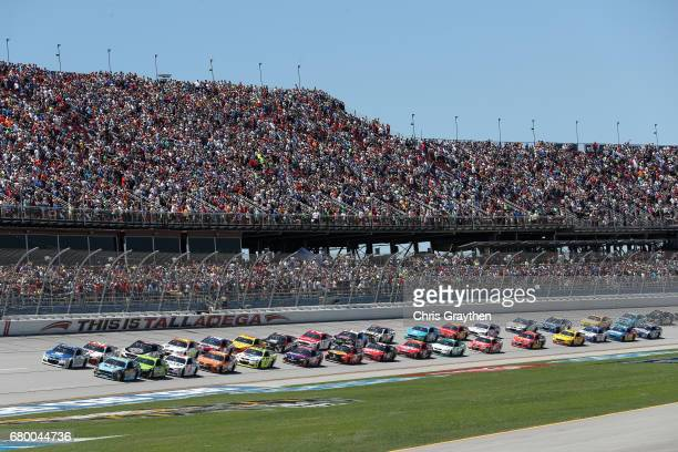 Ricky Stenhouse Jr driver of the Fifth Third Bank Ford leads the field to the green flag to start the Monster Energy NASCAR Cup Series GEICO 500 at...