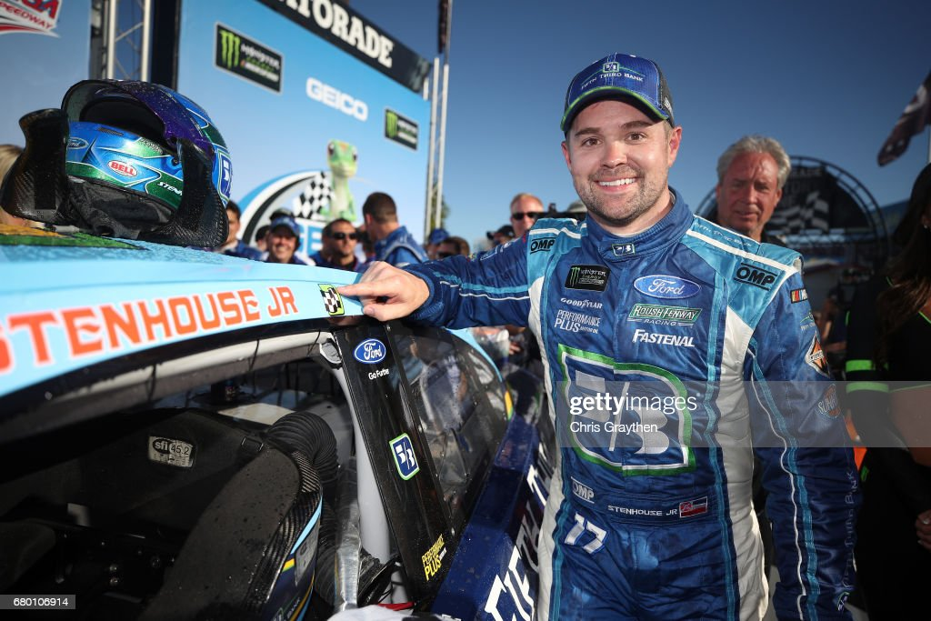 Ricky Stenhouse Jr., driver of the #17 Fifth Third Bank Ford, poses with the winner's decal in Victory Lane after winning the Monster Energy NASCAR Cup Series GEICO 500 at Talladega Superspeedway on May 7, 2017 in Talladega, Alabama.