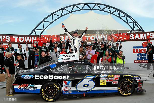 Ricky Stenhouse Jr driver of the Ford EcoBoost Ford celebrates in Victory Lane after winning the NASCAR Nationwide Series Sam's Town 300 at Las Vegas...
