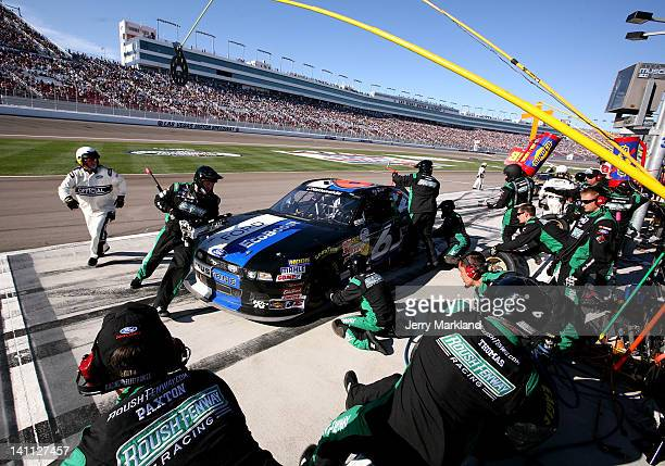 Ricky Stenhouse Jr driver of the Ford EcoBoost Ford pits during the NASCAR Nationwide Series Sam's Town 300 at Las Vegas Motor Speedway on March 10...
