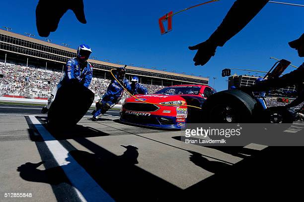 Ricky Stenhouse Jr driver of the Ford EcoBoost Ford pits during the NASCAR Sprint Cup Series Folds of Honor QuikTrip 500 at Atlanta Motor Speedway on...