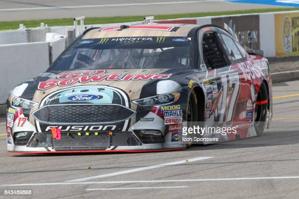 Ricky Stenhouse Jr driver of the Go Bowling Ford enters pit road during the Monster Energy NASCAR Cup Series Pure Michigan 400 race on August 13 2017...