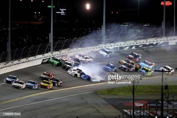 Ricky Stenhouse Jr., driver of the Kroger Chevrolet, Kyle Busch, driver of the Interstate Batteries Toyota, Kurt Busch, driver of the Monster Energy...