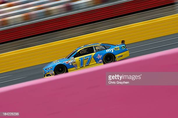 Ricky Stenhouse Jr driver of the My Best Buy Ford during practice for the NASCAR Sprint Cup Series Bank of America 500 at Charlotte Motor Speedway on...