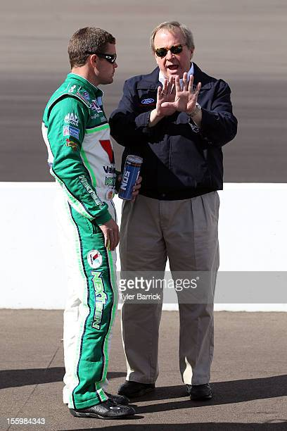 Ricky Stenhouse Jr. , driver of the Valvoline NextGen Ford, talks with Edsel B. Ford II, the great-grandson of Henry Ford the Founder of Ford Motor...