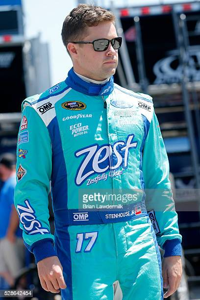 Ricky Stenhouse Jr., driver of the Zest Ford, looks on during practice for the NASCAR Sprint Cup Series Go Bowling 400 at Kansas Speedway on May 6,...