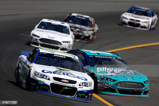 Ricky Stenhouse Jr driver of the Zest Ford spins on track during the NASCAR Sprint Cup Series Axalta 'We Paint Winners' 400 at Pocono Raceway on June...