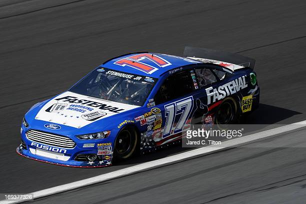 Ricky Stenhouse Jr drives the Fastenal Ford during practice for the NASCAR Sprint Cup Series CocaCola 600 at Charlotte Motor Speedway on May 23 2013...