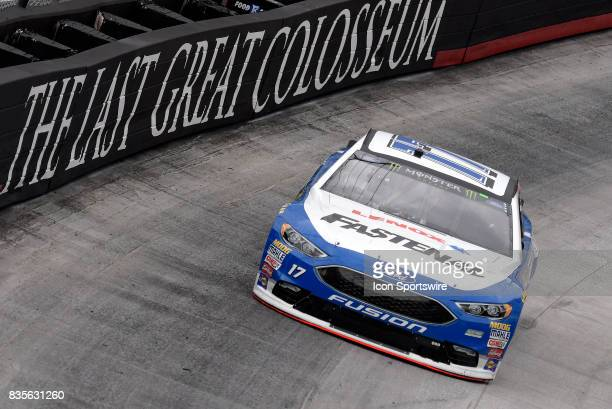 Ricky Stenhouse Jr Roush Fenway Racing Ford Fusion drives through the middle of turns one and two during practice for the Bass Pro Shops NRA Night...