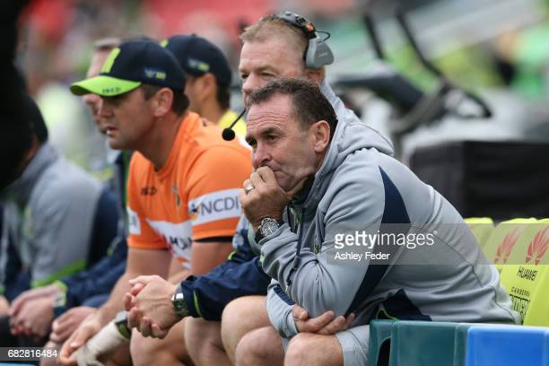 Ricky Stewart coach of the Raiders looks on during the round 10 NRL match between the Newcastle Knights and the Canberra Raiders at McDonald Jones...