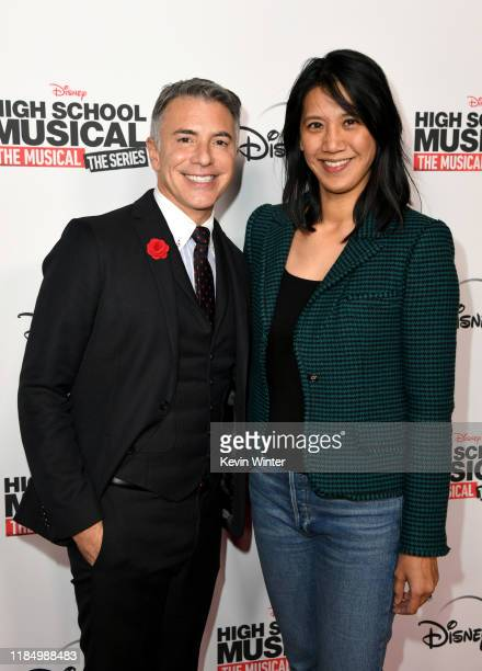 """Ricky Strauss and Agnes Chu arrive at the premiere of Disney+'s """"High School Musical: The Musical: The Series"""" at Walt Disney Studio Lot on November..."""