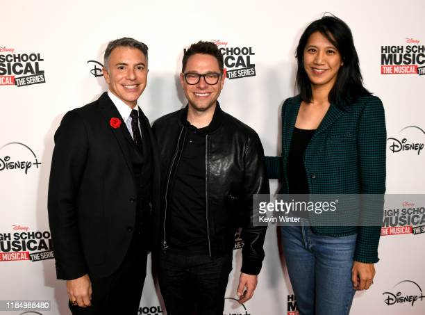 """Ricky Strauss, Tim Federle and Agnes Chu arrive at the premiere of Disney+'s """"High School Musical: The Musical: The Series"""" at Walt Disney Studio Lot..."""