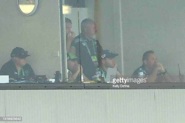 Ricky Stuart coach of the Raiders looks on from the coach's box during the round nine NRL match between the Canberra Raiders and the Newcastle...