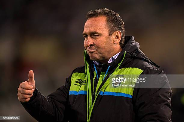 Ricky Stuart coach of the Raiders reacts during the round 23 NRL match between the Canberra Raiders and the Melbourne Storm at GIO Stadium on August...