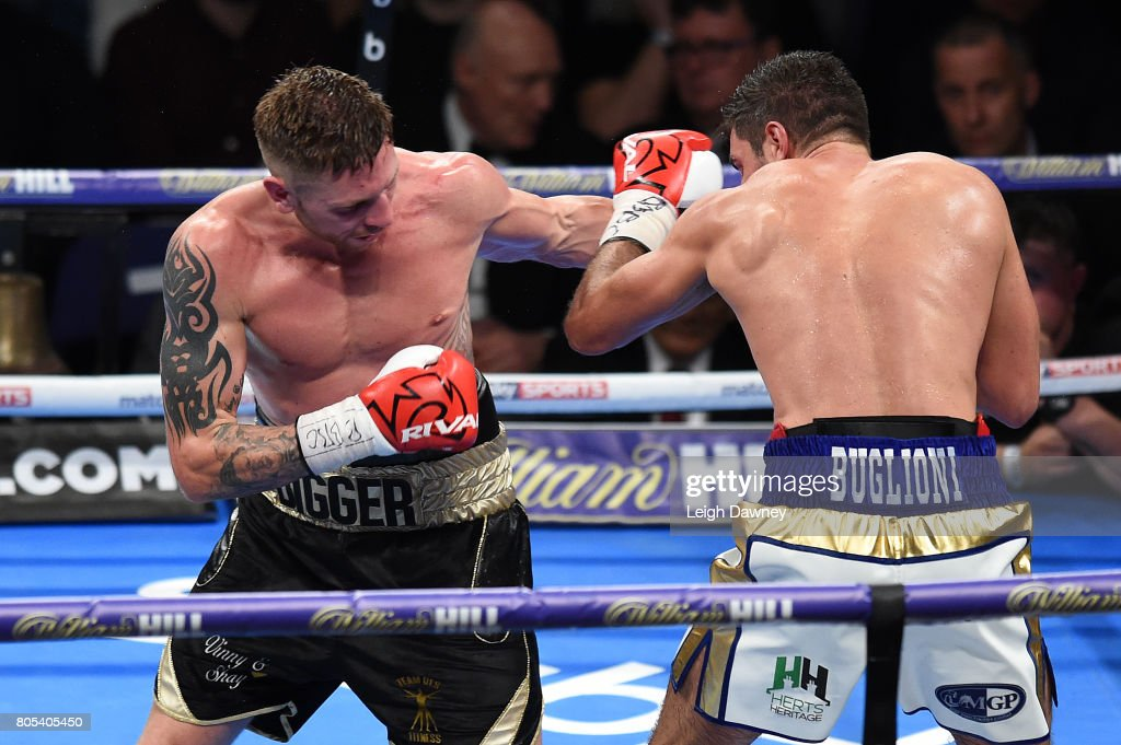 Ricky Summers (L) in boxing action with Frank Buglioni during their fight for the British Light Heavyweight Championship at The O2 Arena on July 1st, 2017 in London, England.
