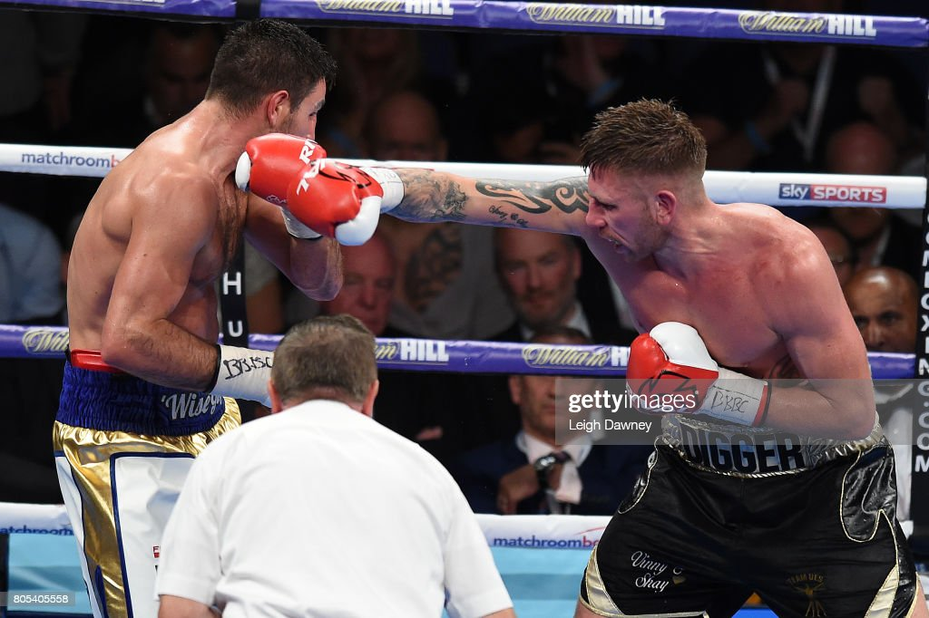 Ricky Summers (r) in boxing action with Frank Buglioni during their fight for the British Light Heavyweight Championship at The O2 Arena on July 1st, 2017 in London, England.