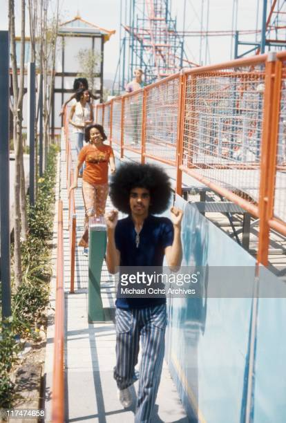 Ricky Sylvers with sisters Olympia and Charmaine Sylvers of the R and B group The Sylvers at Magic Mountain on June 22 1973 in Valencia California
