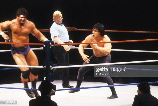 Ricky 'The Dragon' Steamboat gets ready to hit Don 'The Magnificent' Muarco during their WWF match circa 1985