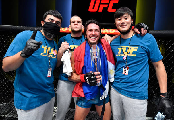 Ricky Turcios reacts after his victory over Brady Hiestand in a bantamweight fight during the UFC Fight Night event at UFC APEX on August 28, 2021 in...