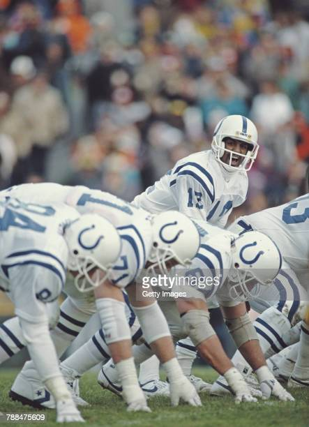 Ricky Turner Quarterback for the Indianapolis Colts calls the play during the American Football Conference East game against the Miami Dolphins on 4...