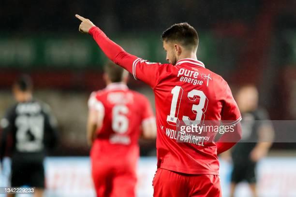 Ricky van Wolfswinkel of FC Twente celebrates after scoring his sides first goal during the Dutch Eredivisie match between FC Twente and AZ at De...
