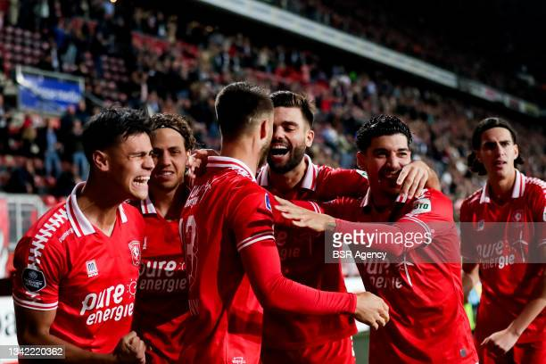 Ricky van Wolfswinkel of FC Twente celebrates with his team mates after scoring his sides first goal during the Dutch Eredivisie match between FC...