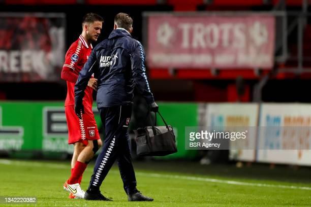 Ricky van Wolfswinkel of FC Twente receives medical treatment during the Dutch Eredivisie match between FC Twente and AZ at De Grolsch Veste on...