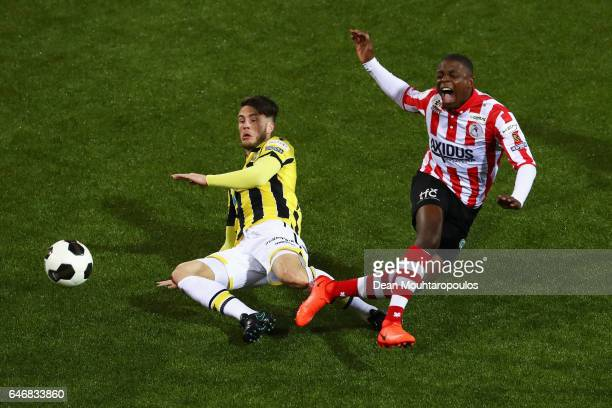 Ricky van Wolfswinkel of Vitesse Arnhem battles for the ball with Sherel Floranus of Sparta Rotterdam during the Dutch KNVB Cup Semifinal match...