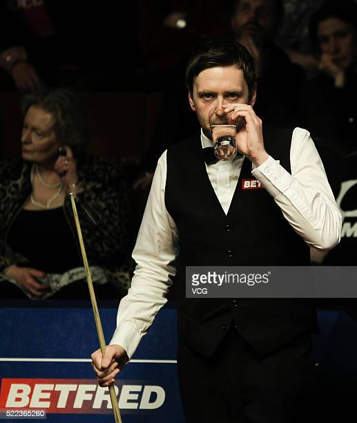 Ricky Walden of England reacts in first round match against Robbie Williams of England on day three of Betfred World Championship 2016 at Crucible...
