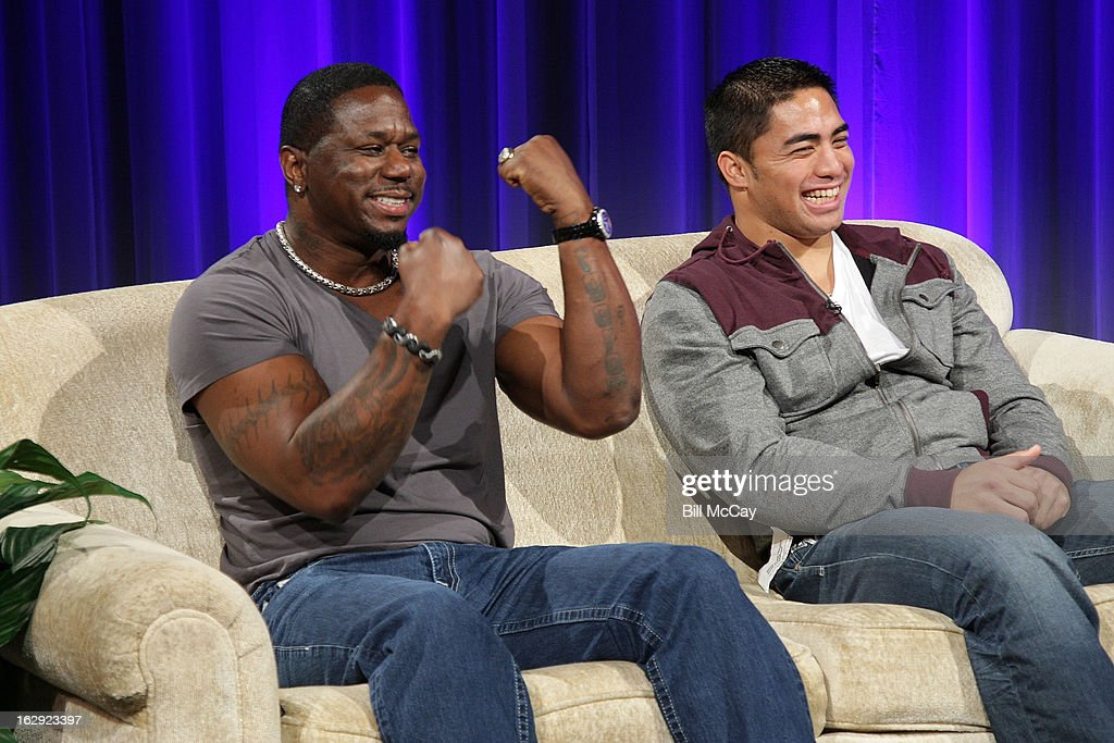 Ricky Watters and Manti Te'o attend the Stars of Maxwell Football Club Discussion Table on March 1, 2013 in Atlantic City, New Jersey.