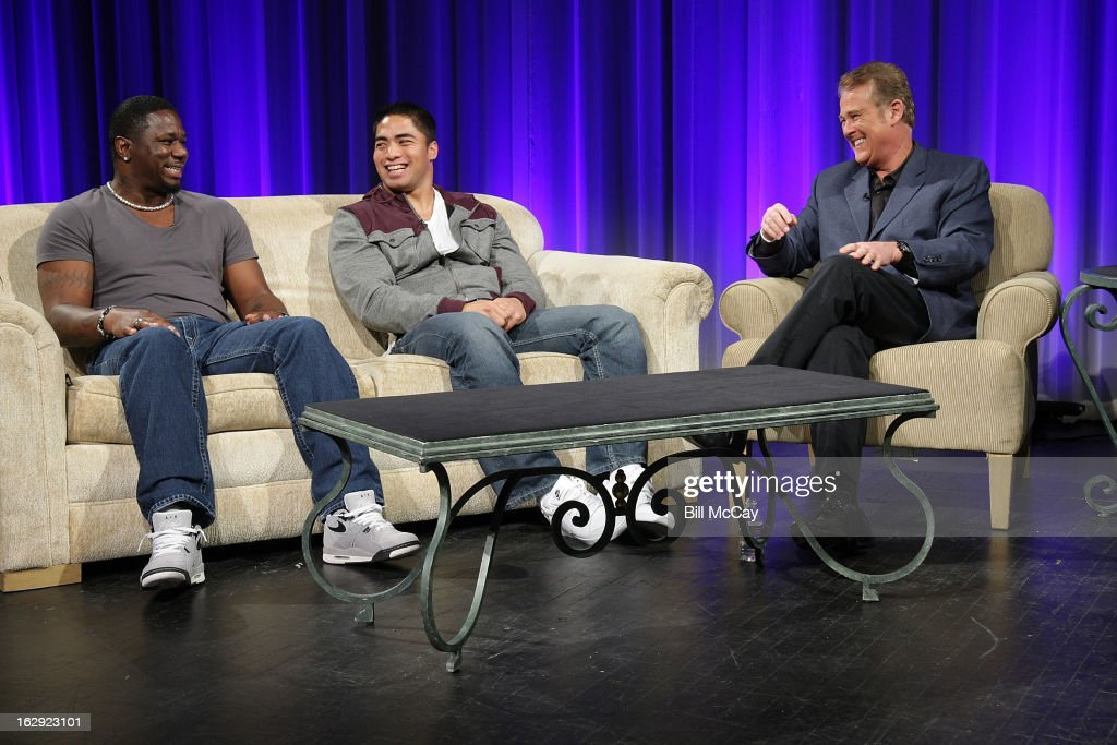 Ricky Watters, Manti Te'o and Lou Tilley attend the Stars of Maxwell Football Club Discussion Table on March 1, 2013 in Atlantic City, New Jersey.