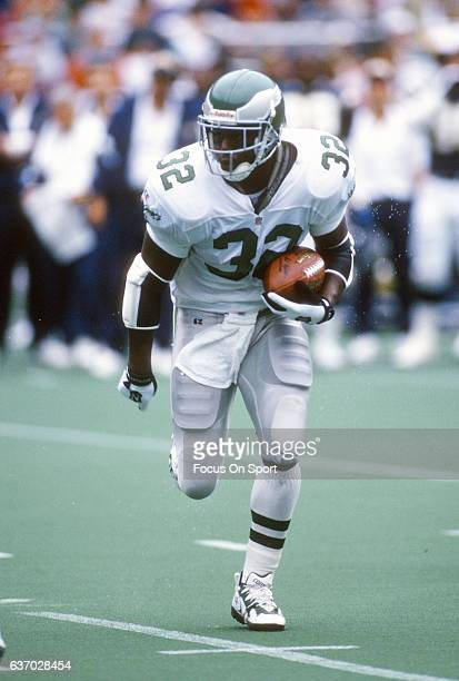 Ricky Watters of the Philadelphia Eagles carries the ball against the San Diego Chargers during an NFL football game September 19 1995 at Veterans...