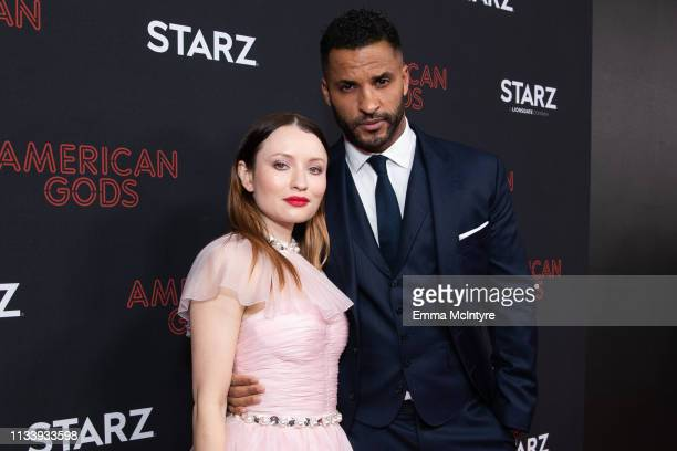 Ricky Whittle and Emily Browning arrives at the premiere of STARZ's 'American Gods' Season 2 at Ace Hotel on March 05, 2019 in Los Angeles,...