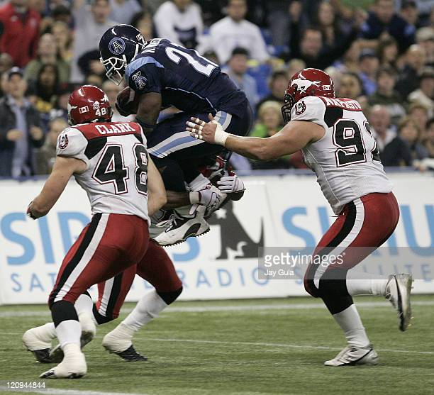 Ricky Williams carried the ball 6 times for 34 rushing yards and 1 TD vs the Calgary Stampeders in CFL action at Rogers Centre in Toronto, Canada....