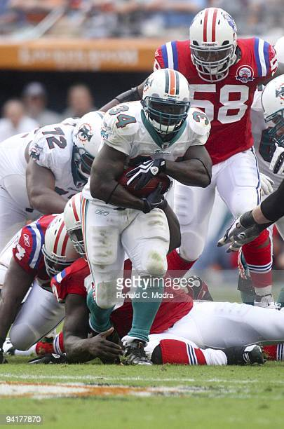 Ricky Williams of the Miami Dolphins carries the ball during a NFL game against the New England Patriots at Land Shark Stadium on December 6, 2009 in...