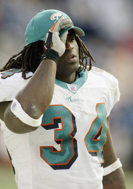 Ricky Williams  34 of the Miami Dolphins looks on against the Tennessee  Titans on November 42fc66d4e