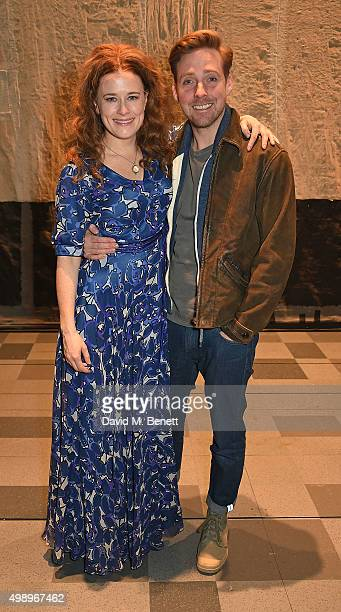 Ricky Wilson and cast member Katie Brayben pose backstage following a performance of 'Beautiful The Carole King Musical' at The Aldwych Theatre on...