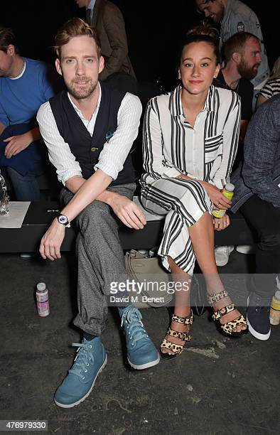 Ricky Wilson and Grace Zito attend the front row at the Oliver Spencer show during London Collections Men SS16 at The Old Sorting Office on June 13...