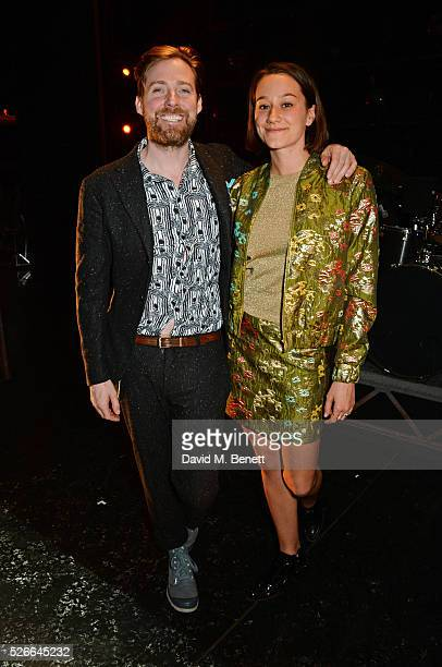 Ricky Wilson and Grace Zito pose backstage following a performance of 'Jersey Boys' at The Piccadilly Theatre on April 30 2016 in London England