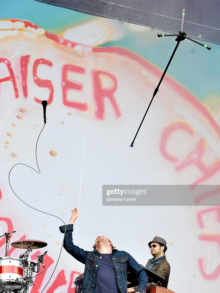 Ricky Wilson and Peanut of Kaiser Chiefs perform at Bramham Park on August 24, 2012 in Leeds, England.