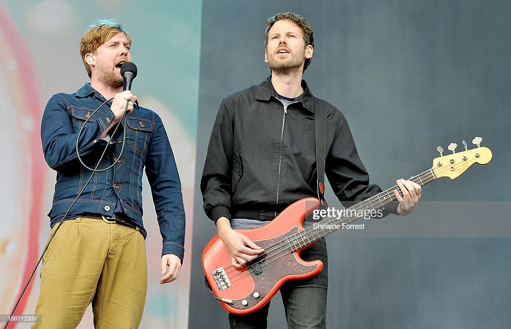 Ricky Wilson and Simon Rix of Kaiser Chiefs perform at Bramham Park on August 24, 2012 in Leeds, England.