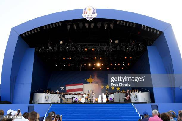 Ricky Wilson and the Kaiser Chiefs perform during the opening ceremony for the 2018 Ryder Cup at Le Golf National on September 27 2018 in Paris France