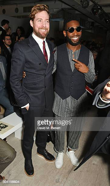 Ricky Wilson and Tinie Tempah attend the Oliver Spencer front row during London Collections Men AW16 at 180 The Strand on January 9 2016 in London...