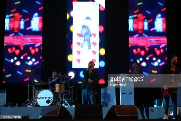 Ricky Wilson and Vijay Mistry and Simon Rix of the Kaiser Chiefs perform at Victorious Festival on Southsea Seafront on August 24 2018 in Portsmouth...