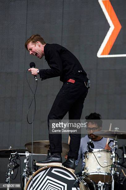 Ricky Wilson and Vijay Mistry of the Kaiser Chiefs performs at Slane Castle on May 30 2015 in Slane Ireland